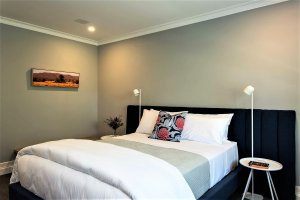 bedroom with picture on wall